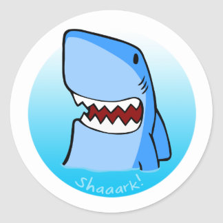 Shaaark in water - round sticker