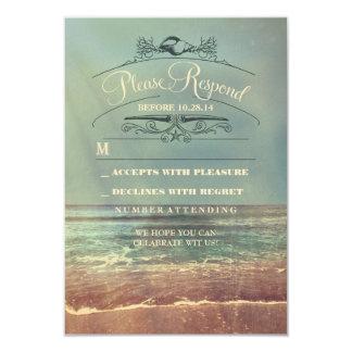 """Shabby beach wedding RSVP card 3.5"""" X 5"""" Invitation Card"""