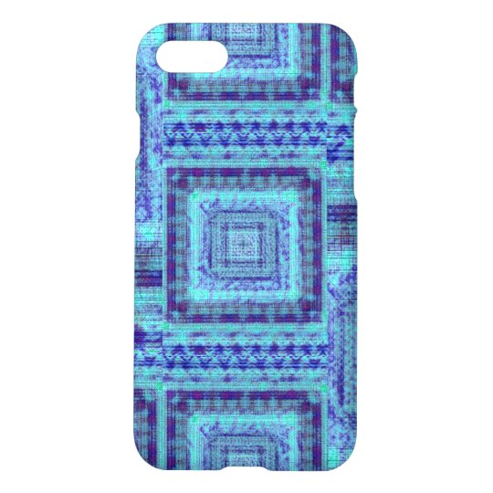 Shabby Blue Fabric Like Squares Pattern Decorative iPhone 7 Case