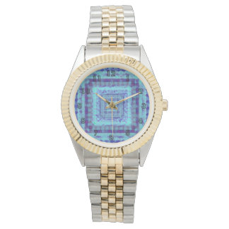 Shabby Blue Fabric Like Squares Pattern Decorative Watches
