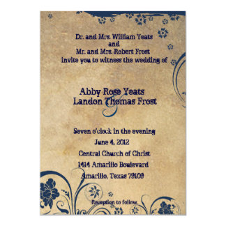 Shabby Blue Lace and Parchment Wedding Invitations