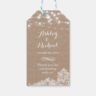 Shabby Burlap String Lights Lace Wedding Thank You Pack Of Gift Tags