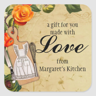 Shabby chic apron knife whisk food gift tag label