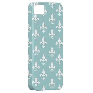 Shabby Chic Aqua Blue Fleur De Lis Pattern iPhone 5 Covers