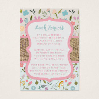 Shabby Chic Baby Shower Book Request cards
