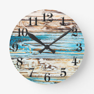 Shabby Chic Beach Weathered Boards Ocean Clock