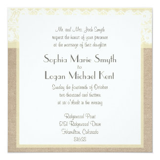 Shabby Chic Beige Lace Burlap Wedding Invitation