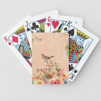 Shabby chic, bird,butterfly,lace,floral,country, bicycle playing cards