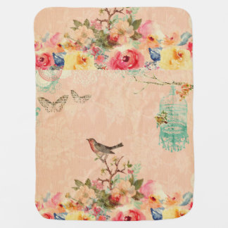Shabby chic, bird,butterfly,lace,floral,country ch baby blanket