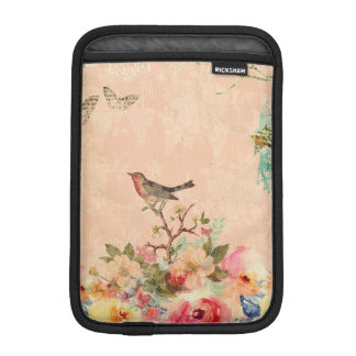 Shabby chic, bird,butterfly,lace,floral,country ch iPad mini sleeve