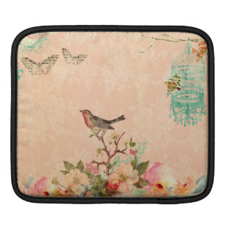 Shabby chic, bird,butterfly,lace,floral,country ch iPad sleeve