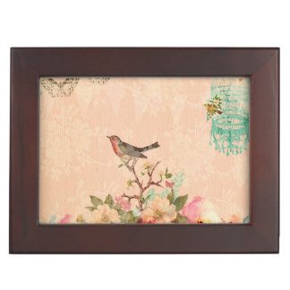 Shabby chic, bird,butterfly,lace,floral,country ch keepsake box