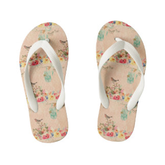 Shabby chic, bird,butterfly,lace,floral,country ch kid's flip flops