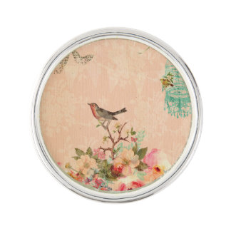 Shabby chic, bird,butterfly,lace,floral,country ch lapel pin