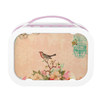 Shabby chic, bird,butterfly,lace,floral,country ch lunch box