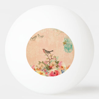 Shabby chic, bird,butterfly,lace,floral,country ch ping pong ball