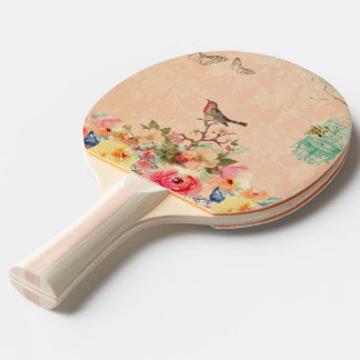 Shabby chic, bird,butterfly,lace,floral,country ch ping pong paddle