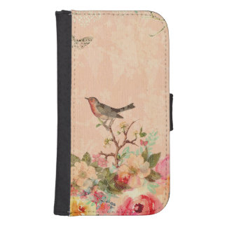 Shabby chic, bird,butterfly,lace,floral,country ch samsung s4 wallet case