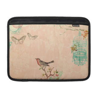 Shabby chic, bird,butterfly,lace,floral,country ch sleeve for MacBook air