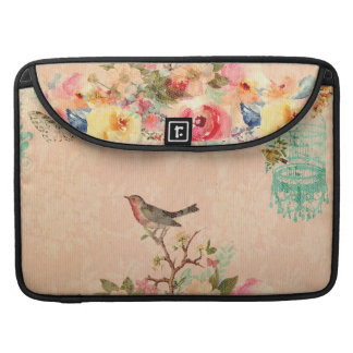 Shabby chic, bird,butterfly,lace,floral,country ch sleeve for MacBooks