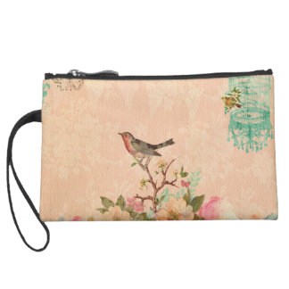 Shabby chic, bird,butterfly,lace,floral,country ch suede wristlet