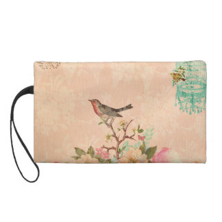 Shabby chic, bird,butterfly,lace,floral,country ch wristlet