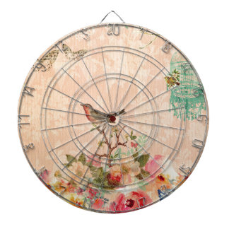 Shabby chic, bird,butterfly,lace,floral,country, dartboard
