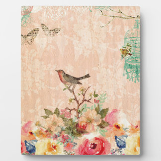 Shabby chic, bird,butterfly,lace,floral,country, plaque