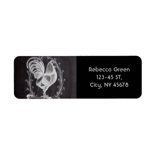 shabby chic blackboard french country rooster return address label