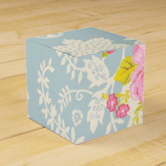 Shabby Chic Blue Floral Pink Rose Wedding Favor Boxes