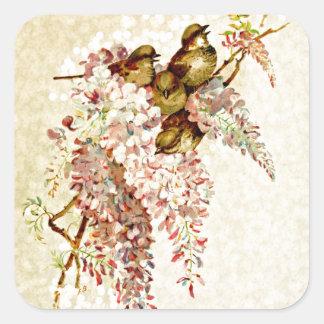 Shabby Chic Bokeh Birds Square Sticker