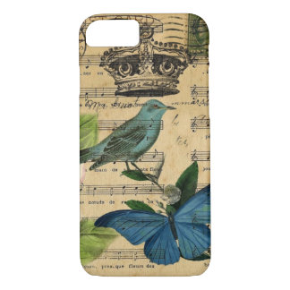shabby chic botanical  french bird Camellia iPhone 8/7 Case