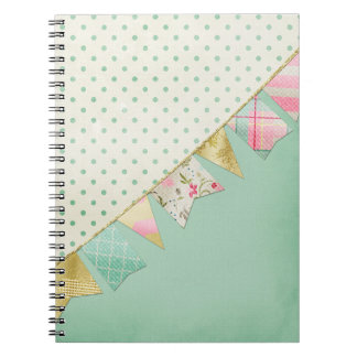 Shabby Chic Boutique Bunting in Pink, Mint & Gold Notebooks