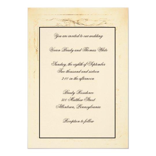 Shabby Chic Bow Wedding Invitation
