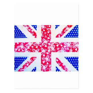 Shabby Chic British Flag - Polka Dots and Floral Postcard