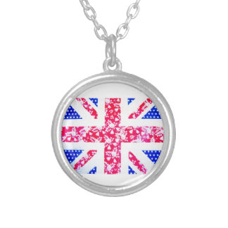 Shabby Chic British Flag - Polka Dots and Floral Silver Plated Necklace