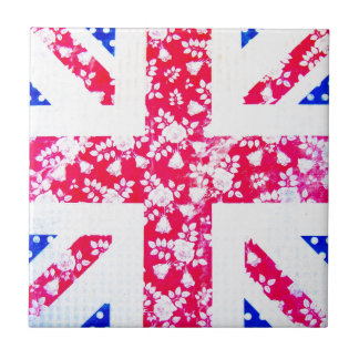 Shabby Chic British Flag - Polka Dots and Floral Tile