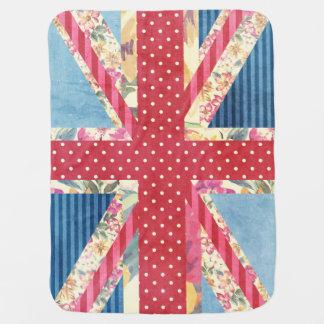 Shabby Chic   British Flag Receiving Blankets