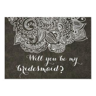 "Shabby Chic Brown Vintage Paisley Bridesmaid 5"" X 7"" Invitation Card"