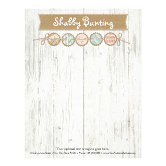 Shabby Chic Bunting on Rustic White Painted Wood Letterhead