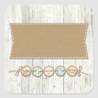 Shabby Chic Bunting on Rustic White Painted Wood Square Sticker