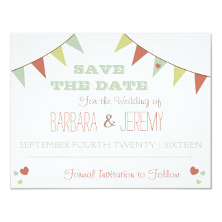 Shabby Chic Bunting Save the Date Delicate Card