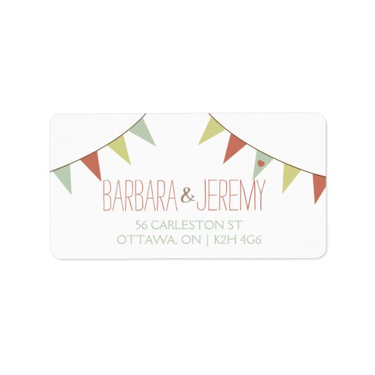Shabby Chic Bunting Wedding Address Label