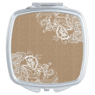 Shabby Chic Burlap and Lace Compact Mirror