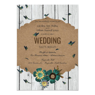 Shabby Chic Butterfly Wood Wedding Invitation