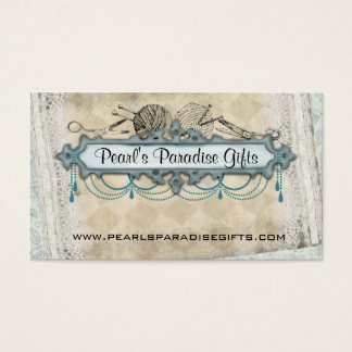 Shabby chic chandelier knitting needles yarn business card