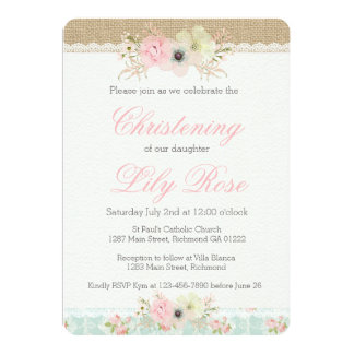 Shabby Chic Christening/Baptism Invitation