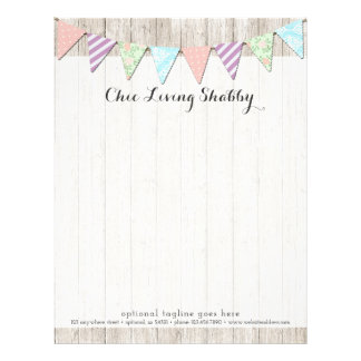 Shabby Chic Country Bunting on Rustic Painted Wood Letterhead Template