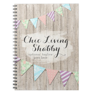 Shabby Chic Country Bunting on Rustic Painted Wood Spiral Notebook