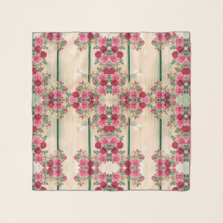 Shabby Chic Country Roses On Wood Design Scarf
